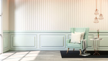 Interior Room Chic Style ,blue Pastel Sofa  With Gold Lamp On White Wall And Wood Floor,soft Light,3d Render