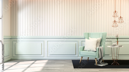 Fotografie, Obraz  interior room chic style ,blue pastel sofa  with gold lamp on white wall and woo