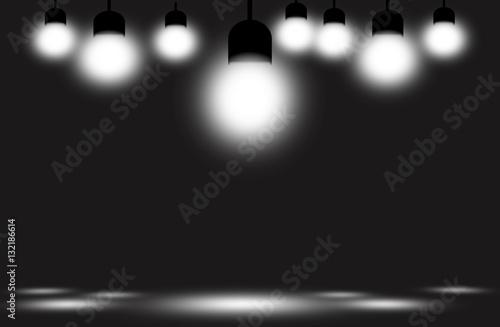 Spoed Foto op Canvas Licht, schaduw White light bulb studio background.
