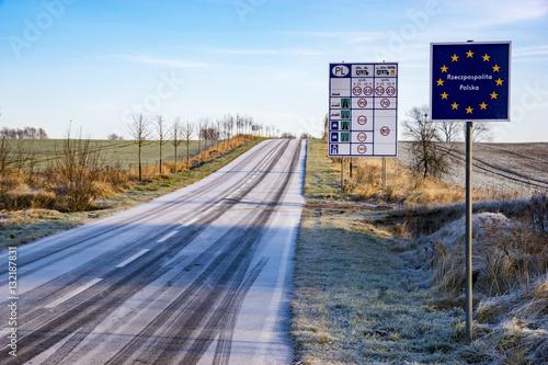 Obraz Road signs on a small German-Polish border crossing - fototapety do salonu