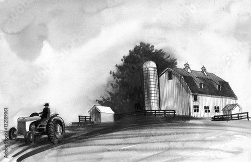 Farm sketch Wallpaper Mural