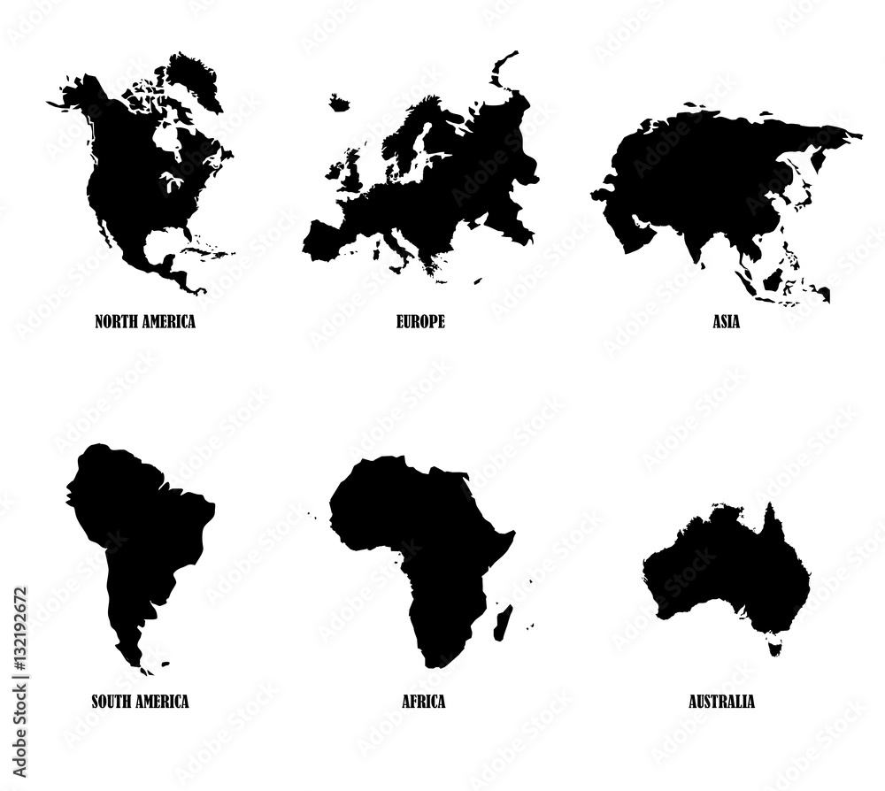 Fototapety, obrazy: Continents vector map