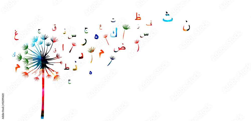 Fototapety, obrazy: Arabic Islamic calligraphy symbols with dandelion vector illustration. Colorful Arabic alphabet text design. Typography background, education concept, creative writing and storytelling