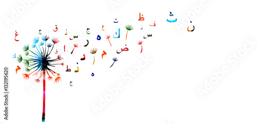 Arabic Islamic calligraphy symbols with dandelion vector illustration Canvas Print