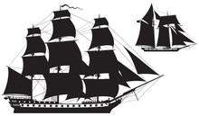 Sailing Ship Silhouettes, Frig...