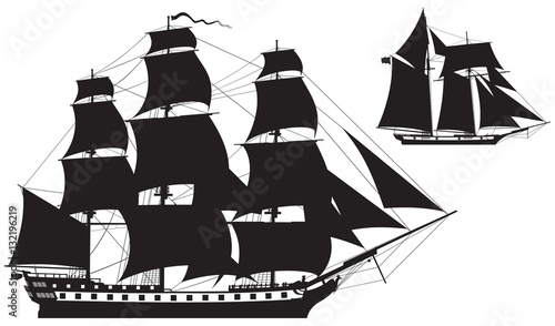 Fotomural Sailing Ship silhouettes, frigate and Schooner vector illustration