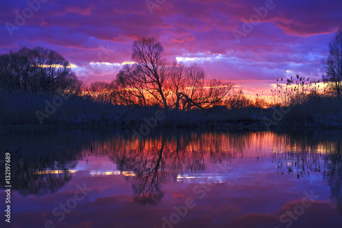 Foto op Aluminium Aubergine bright sunset on a wild lake in lilac tones