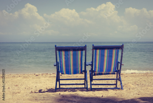 Beach chairs with Blue and white striped. Folding Beach ...
