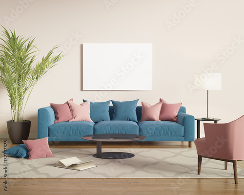 Fotografía  Blue and salmon red velvet sofa in a contemporary living room