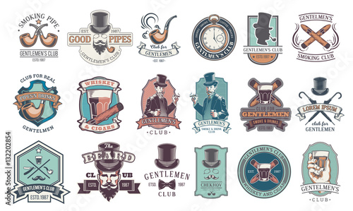 Set of vintage gentleman emblems, labels. Fototapete