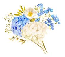 Blue White Jasmine, Hydrangea,...