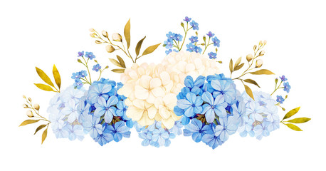 FototapetaBlue white jadmine, hydrangea, rose flowers wedding watercolor b