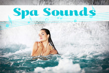 Spa Sounds Concept. Young Woman Near Waterfall