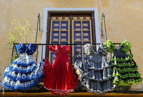 Traditional flamenco dresses at a house in Malaga, Spain Wallpaper Mural