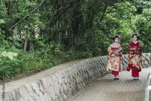 In de dag Asia land Portrait of a Maiko geisha in Gion Kyoto