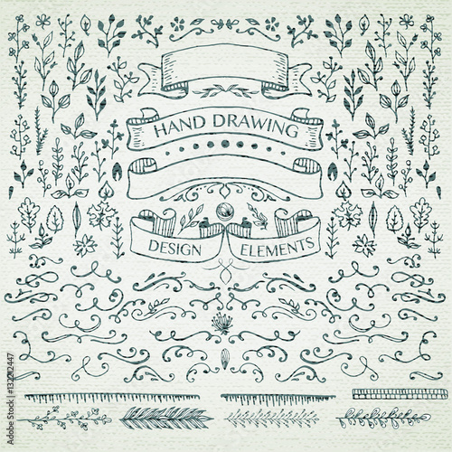 hand-drawing pattern decorative elements. Wall mural