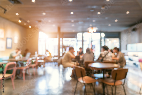Fotobehang Restaurant Blur coffee shop or cafe restaurant with abstract bokeh light im