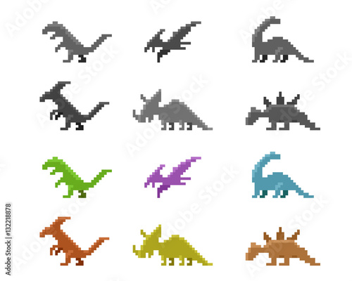 Photo  Set of dinosaur icons in color pixel style, vector