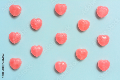 heart shape candy on paper background
