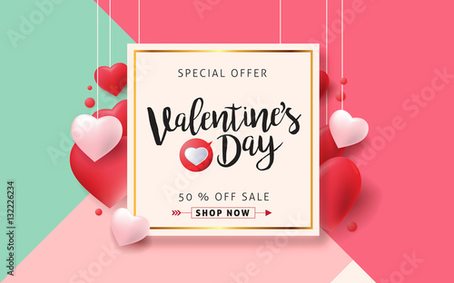 Canvas Print Valentines day sale background with Heart Shaped Balloons
