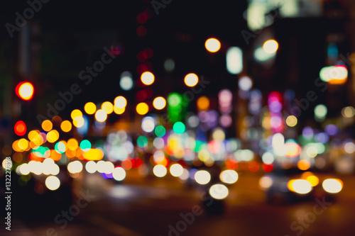 In de dag Las Vegas Blurred image of city at night. Defocused, blurred urban abstract traffic background.