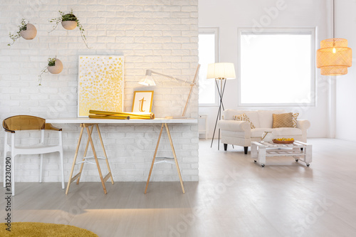 Obraz Interior with stylish lighting - fototapety do salonu