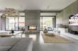 Leinwanddruck Bild - Spacious villa with cement wall