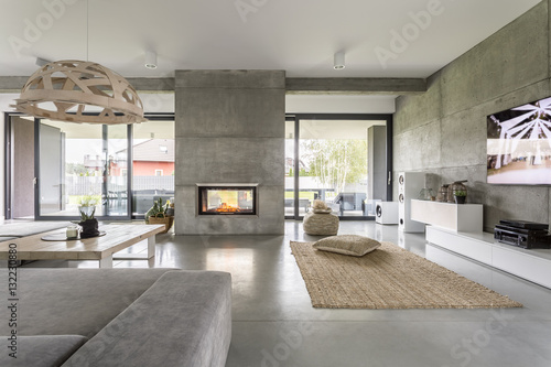 Spacious villa with cement wall Fototapet