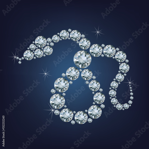 Poster  Happy new year 2025 creative greeting card with Snake made up a lot of diamonds