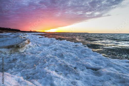 Fotografie, Obraz  Winter Coast Great Lakes Background
