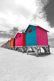 Row of painted beach huts in Cape Town, South Africa - 132233818