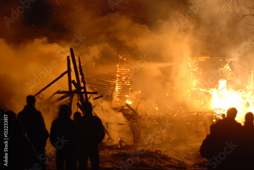 Canvas Prints Military conflagration / Burning/ firefighters /fire, people on fire
