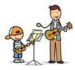 Kind lernt Gitarre spielen bei Musiklehrer