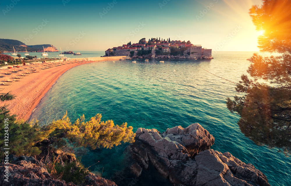 Fototapety, obrazy: View in the Adriatic sea and Sveti Stefan at sunset. Milocer Park. Coast Budva Riviera. Montenegro.