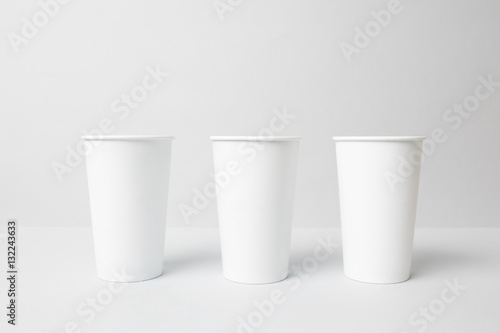 Wall Murals Cafe White paper cups mockup
