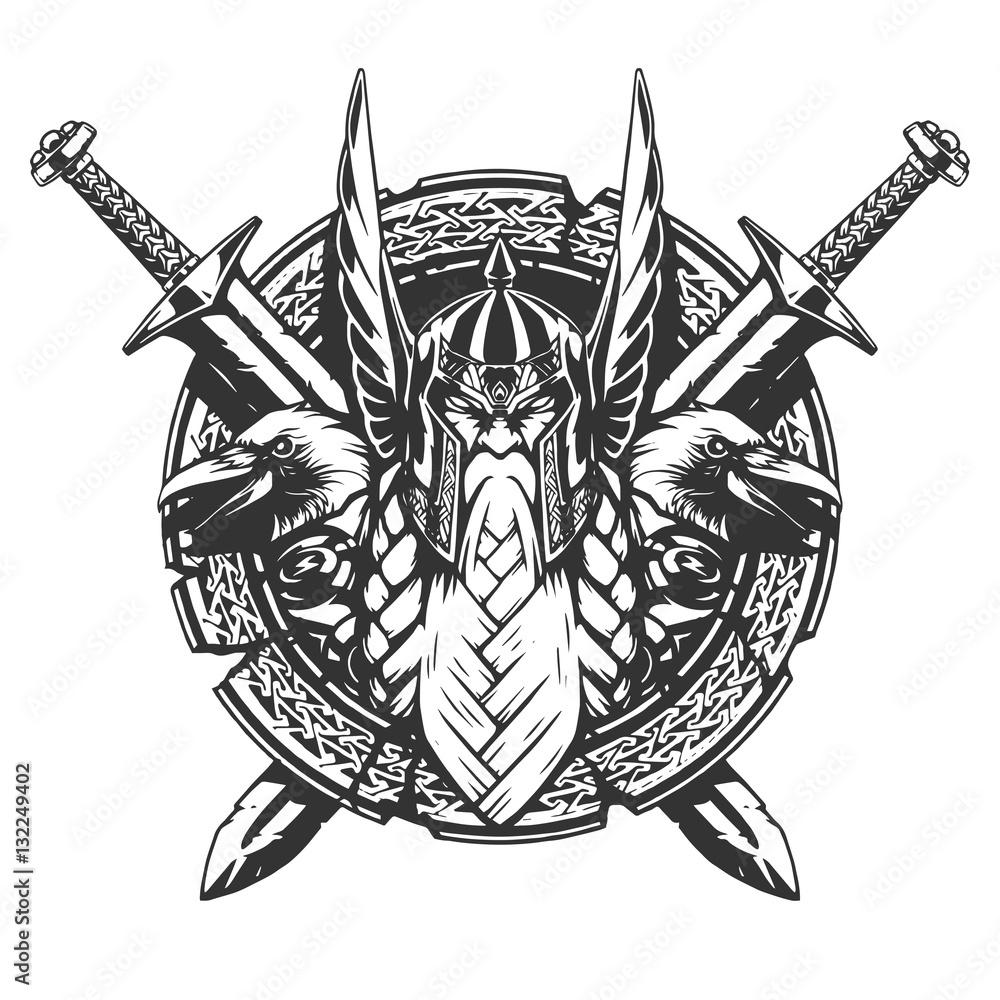 Photo  God Odin illustration tattoo style