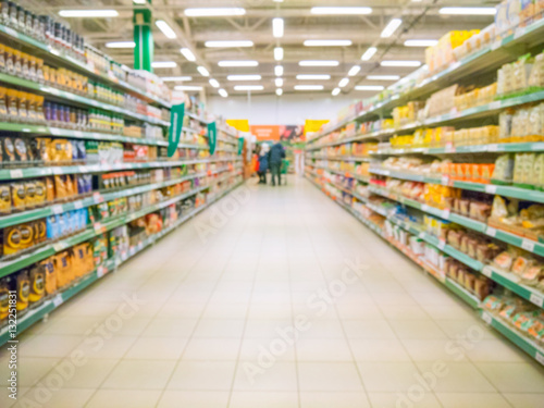 Pinturas sobre lienzo  Abstract blurred supermarket aisle