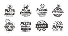 Pizza Set Logo, Label, Element. Pizzeria, Restaurant, Food Icons. Vector Illustration