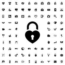 Heart Lock Icon Illustration