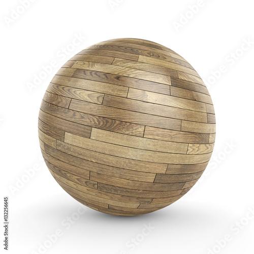 fototapeta na ścianę 3d polished wooden parquet sphere