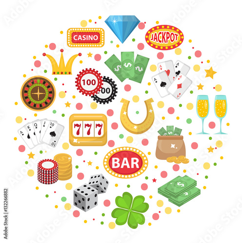 Casino icons in round shape flat style Poster