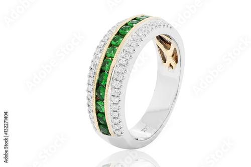 fefe7c4b3c4c anillo o argolla con esmeraldas y diamantes joyería con oro - Buy ...