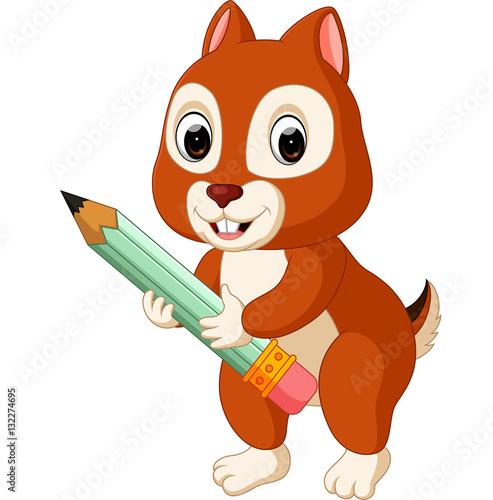 Cute squirrel holding pencil