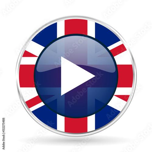 Fotografie, Obraz  play british design icon - round silver metallic border button with Great Britai