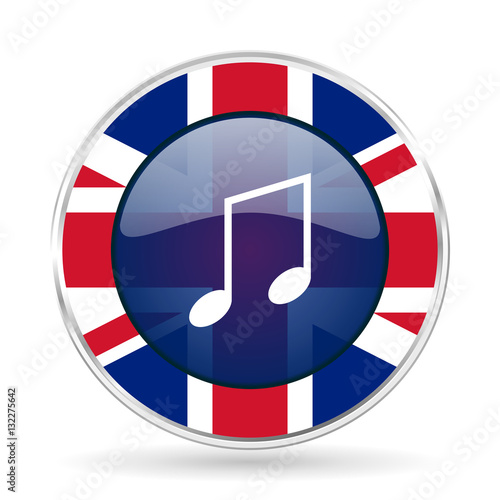 Fotografie, Obraz  music british design icon - round silver metallic border button with Great Brita