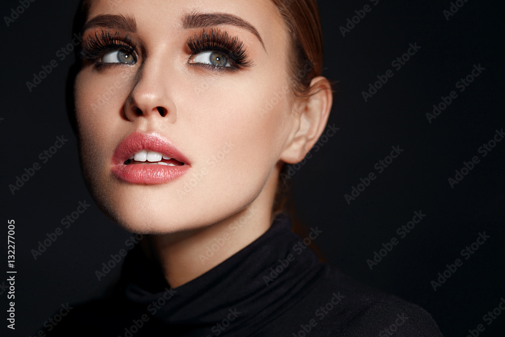 Fototapety, obrazy: Beauty Woman Face. Beautiful Female With Makeup, Long Eyelashes