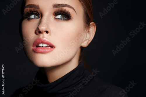 Beauty Woman Face. Beautiful Female With Makeup, Long Eyelashes Poster