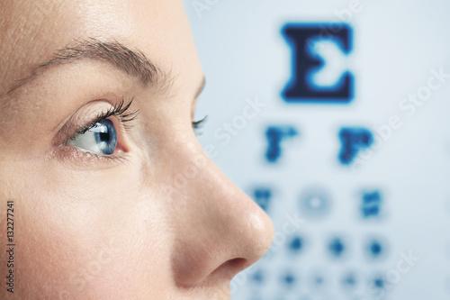 Fotografía Ophthalmologist concept. Woman's face, closeup
