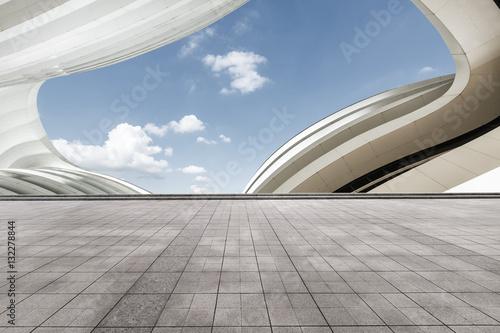 Empty floor and modern architectural passageway