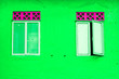 Leinwanddruck Bild - Beautiful green wall and windows
